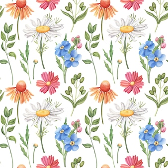 Seamless watercolor pattern with wild flowers