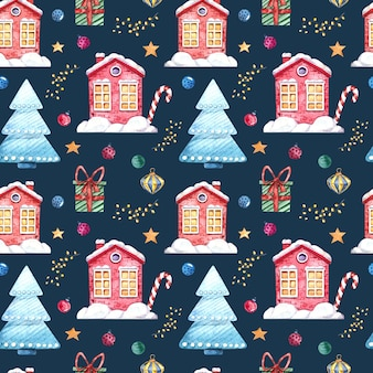 Seamless watercolor pattern with winter houses, christmas tree, gifts, christmas toys on a dark background