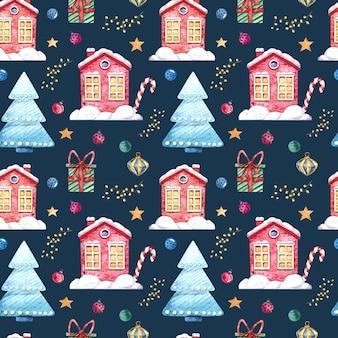 Бесшовный акварельный образец с зимними домиками, елкой, подарками, елочными игрушками на темном фоне