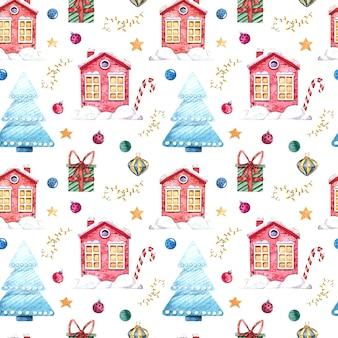 冬の家、クリスマスツリー、ギフト、白い背景の上のクリスマスのおもちゃとのシームレスな水彩パターン