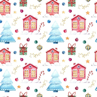 Seamless watercolor pattern with winter houses, christmas tree, gifts, christmas toys on a white background