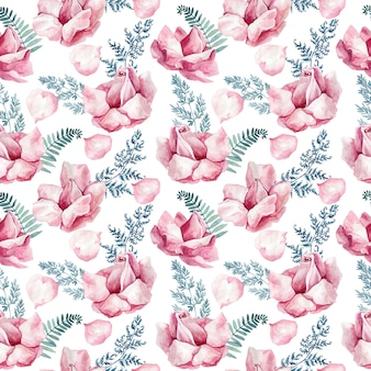 Seamless watercolor texture with delicate rose buds and blue fern leaves