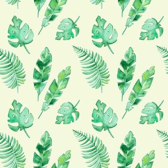 シームレスな水彩トロピカル葉パターン