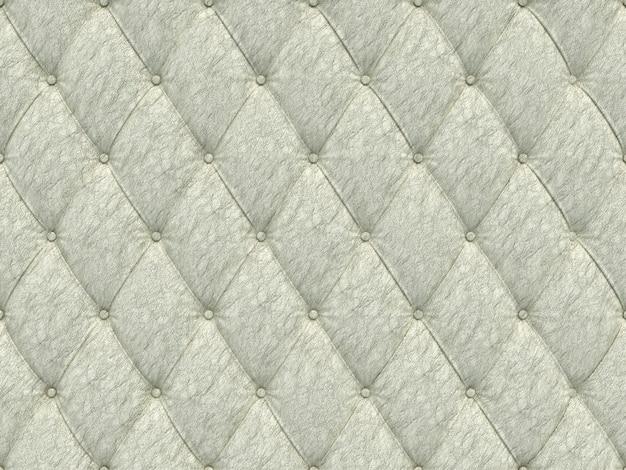 シームレスな白い革張りパターン、3 dイラストレーション