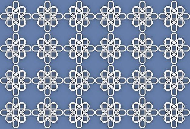 Seamless white oval flower shape pattern on blue wall background.