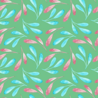 Seampless pattern of pink and blue branches isolated on green background. watercolor illustration.