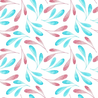 Seampless pattern of pink and blue branches isolated on white background. watercolor illustration.