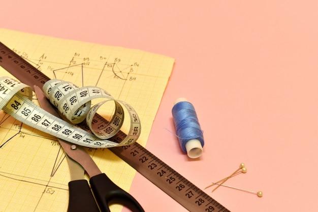 仕立て屋ツール。縫い糸、はさみ、柄、定規。