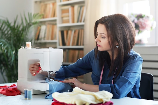 Seamstress working at home