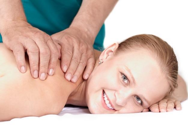 Seance of medical massage.