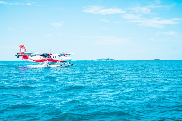 Seaplane is taking off at the airport in maldives