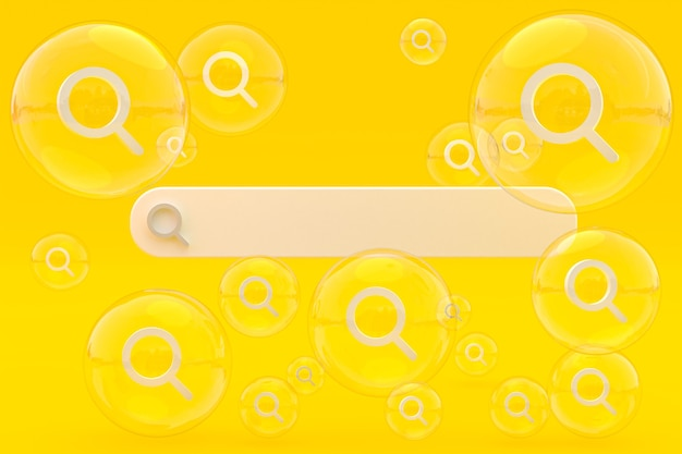 Панель поиска и поиск значков 3d визуализируют минималистичный дизайн на пустом фоне
