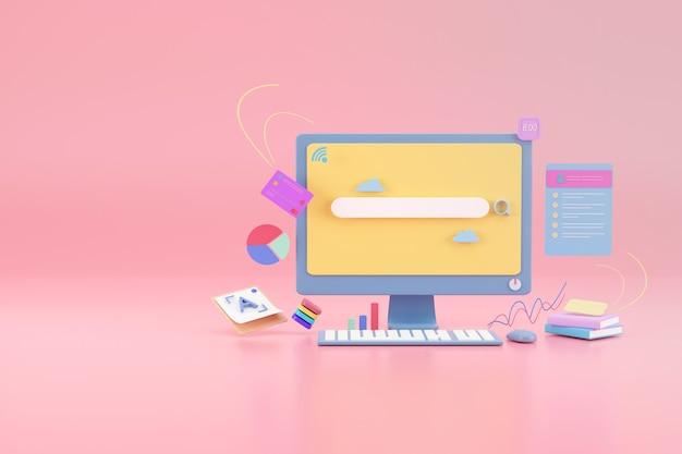 디스플레이 모니터의 검색 막대 그래픽 디자인 (핑크색)