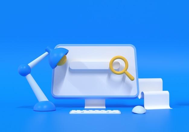 青い背景の検索バーのウェブページ。 webseoの概念。 3dレンダリングイラスト