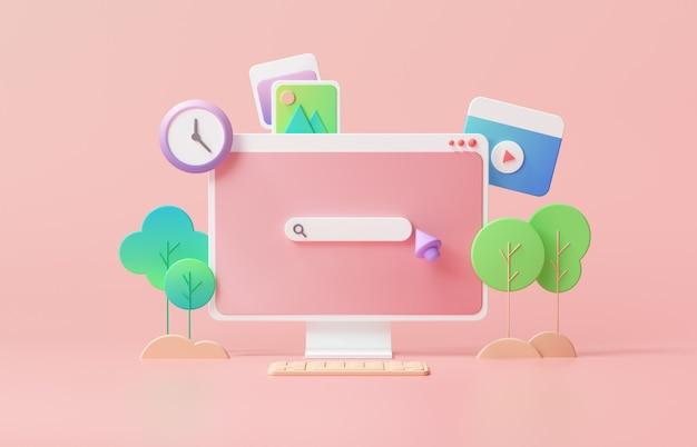 Веб-страница панели поиска на розовом фоне