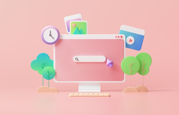 Search bar webpage on pink background