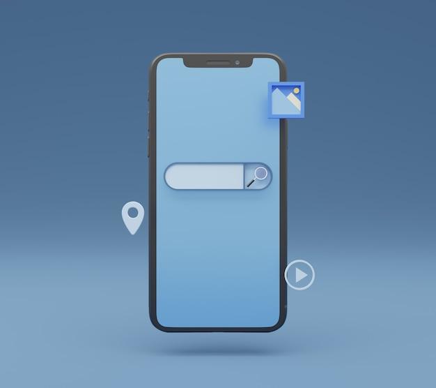 Концепция окна поиска с всплывающим значком элемента поиска на смартфоне