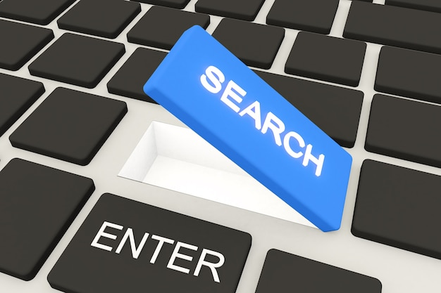 Search button and the keyboard 3d illustration, 3d rendering