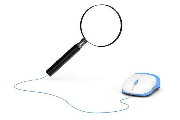 Концепция поиска. увеличительное стекло, подключенное к компьютерной мыши на белом фоне