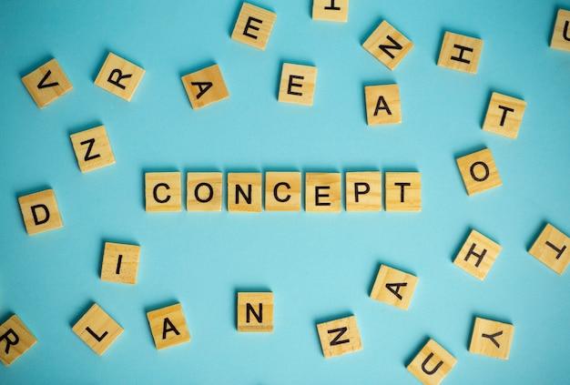 Концепция поиска метафоры. слово концепция состоит из кучи разных букв на синем фоне