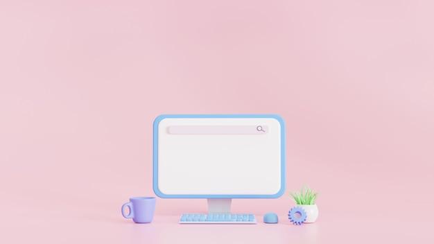 Панель поисковой системы на экране компьютера. веб-поиск в интернете, пустой макет панели поиска для заголовков, текста. 3d иллюстрации