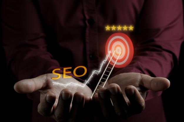 Search engine optimization low light photographictory concept idea for business advertisement