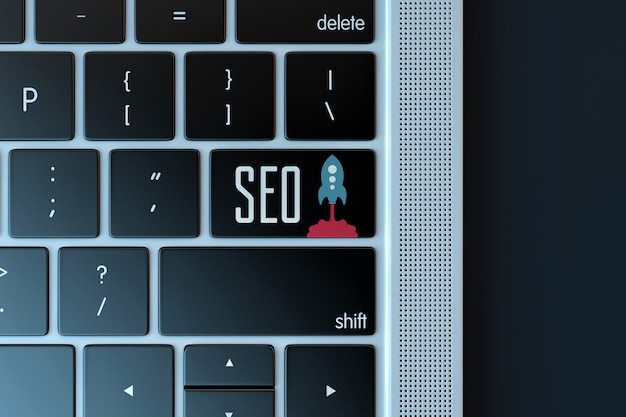 Search engine optimization sign over laptop keyboard