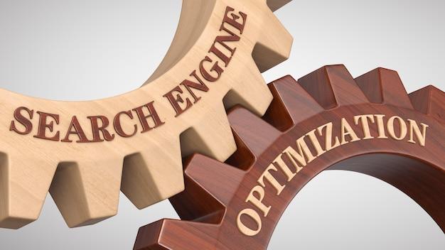 Search engine optimization written on gear wheel