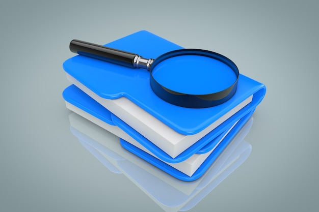 Search files concept. magnifying glass over file folders on a gray background. 3d rendering