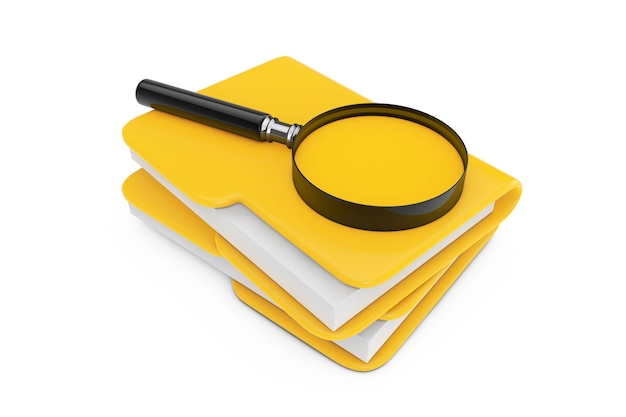 Search files concept. magnifying glass over file folders on a white background. 3d rendering