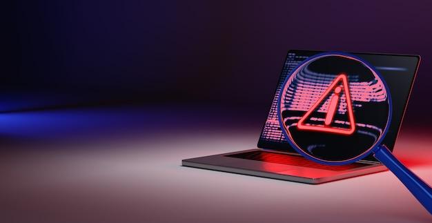 Поиск предупреждение о взломе на ноутбуке концепция взлома данных конфиденциальности из-за угрозы интернет-технологий. 3d визуализация.