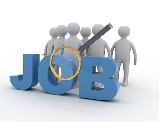 Search job concpet . 3d illustration