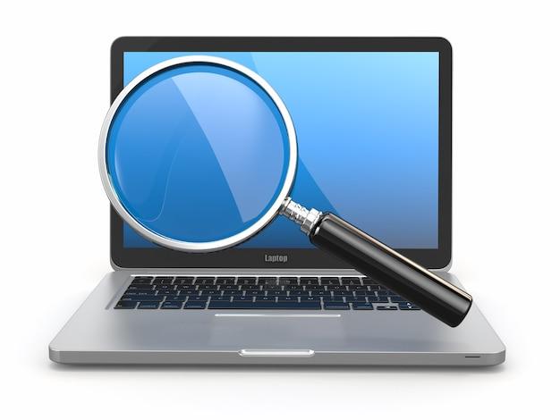 検索。ノートパソコンとルーペ