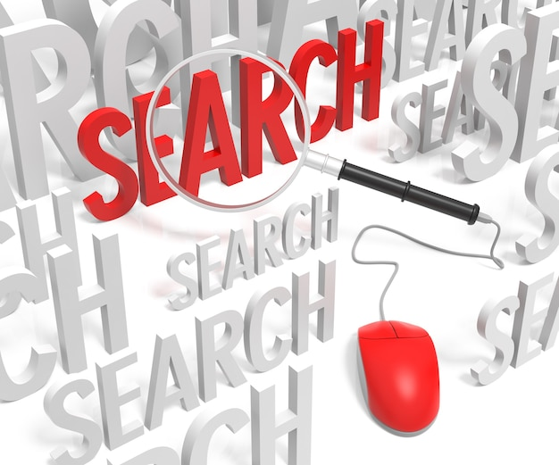 Search with computer mouse and magnifying glass. 3d rendering.