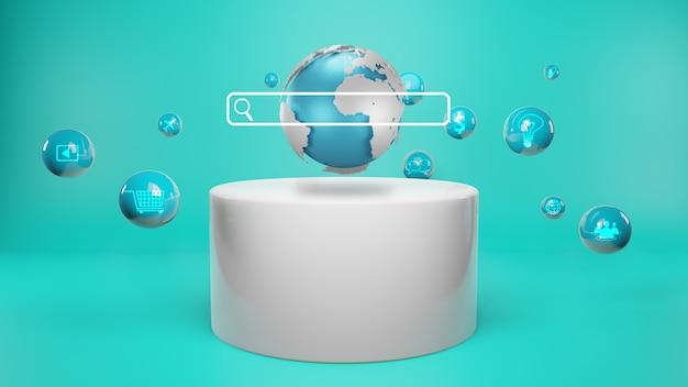 화면에 검색 바. 데이터 네트워킹 개념, 3d 렌더링