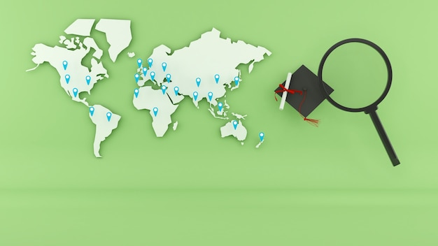 Searching for study abroad around the world,global education search,3d render