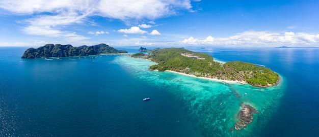 Seascape aerial view and phi phi island kra bi thailand