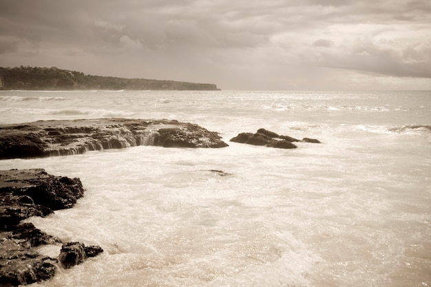 Seascape along coast in bali