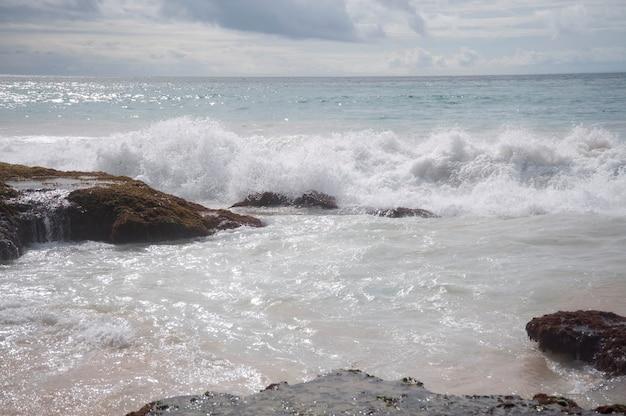 Seascape along shoreline in bali