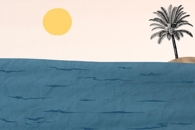 ジョージ・バルビエのアートワークからリミックスされた海景の背景ミクストメディア