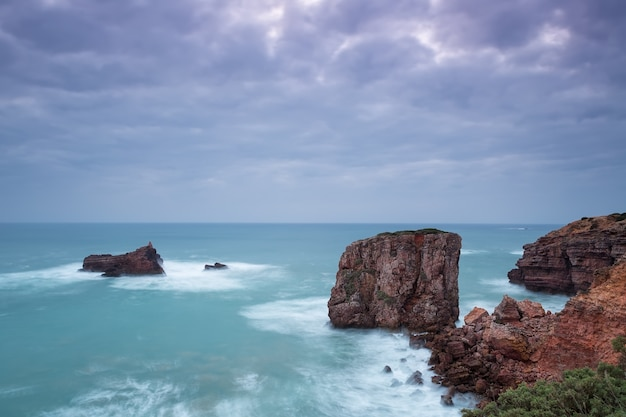 Seascape in dramatic colors and cool colors. portugal sagres.