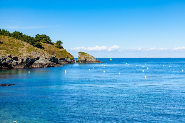 Seascape at the entrance of the port of sauzon on the island of belle ile en mer in the morbiha