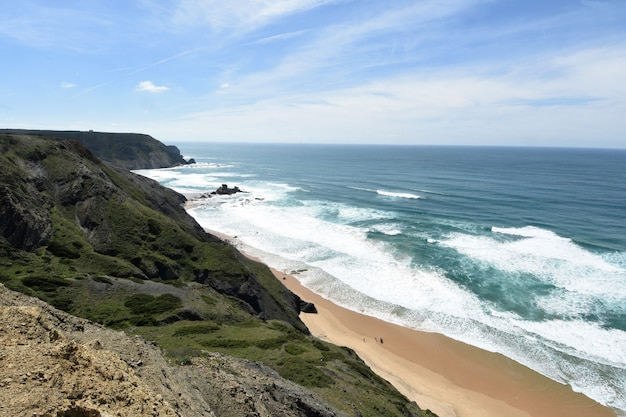 Seascape from the viewpoint of castelejo (photo address castelejo beach) , vila do bispo, algarve, portugal