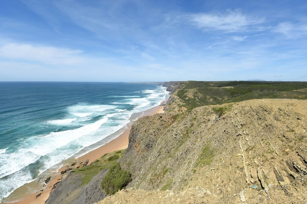 Seascape from the viewpoint of castelejo, (view of cordoama beach), vila do bispo, algarve, portugal