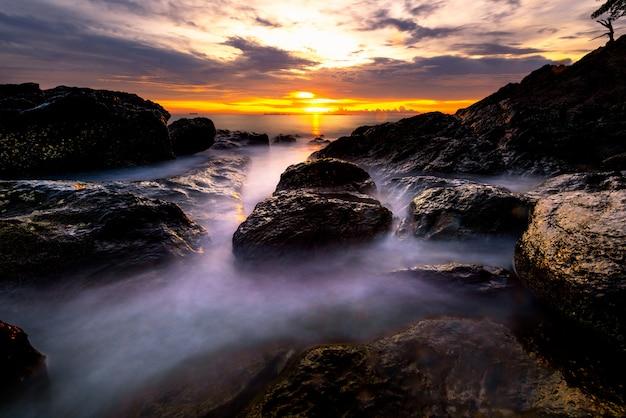 Seascape of lanta island, krabi, thailand. long exposure smooth wave