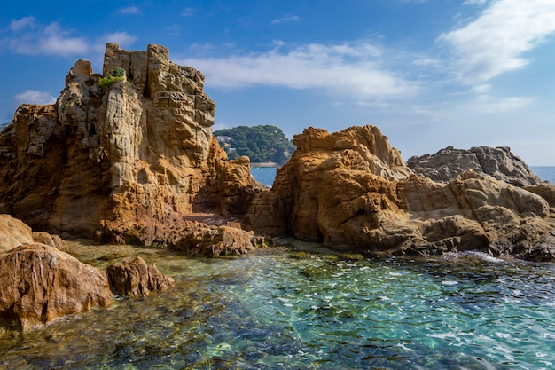 Seascape of resort area of the costa brava near town lloret de mar in spain