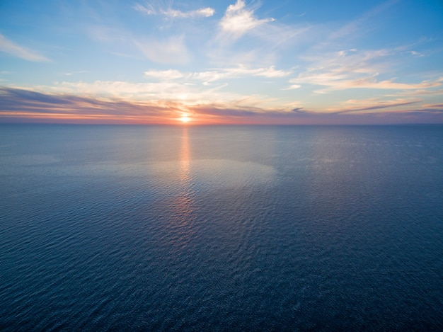 Seascape sunset aerial view