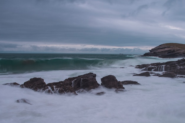Seascape sunset, cantabria, spain