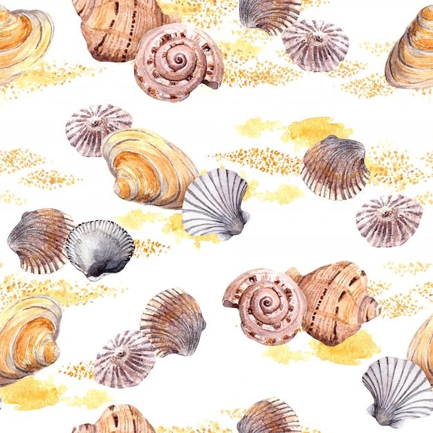 Безшовная картина seashell и песка на белой предпосылке. акварель
