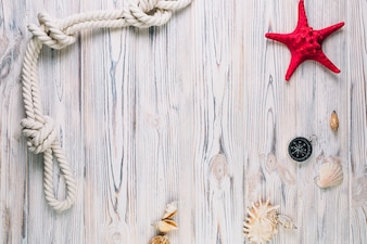 Seashells and compass near starfish and rope